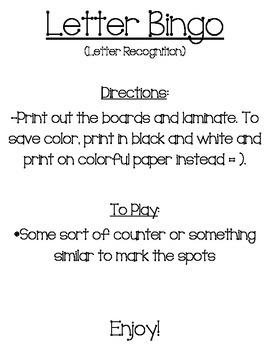 Letter/Alphabet Bingo (Color & BW)