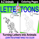 LetterToons A-Z Animals Coloring Pages - Learn the Alphabe