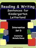 Letterland Intervention: Reading & Writing Sentences Set D for Kindergarten