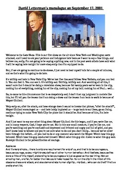 Letterman 9/11 Monologue