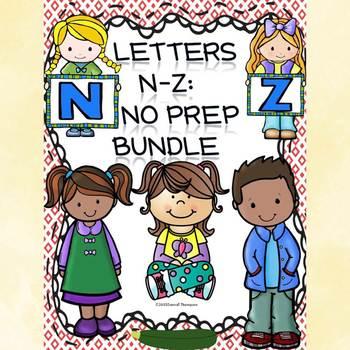 """Alphabet Letter of the Week """"Letters N to Z"""" Bundle (Alphabet Worksheets)"""