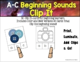 Letters A-C Beginning Sounds Clip It {A Beginning Work Task)