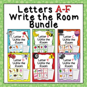Letters A - F Words Write the Room Bundle
