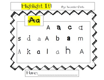 Letter Recognition A-L - Highlight It!