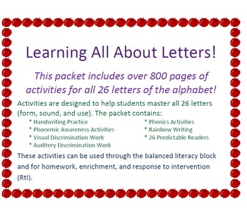 Letters - A Yearlong Unit to Learn All the Letters!