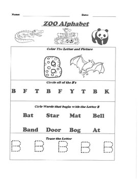 Letters A-Z Alphabet Zoo Packet