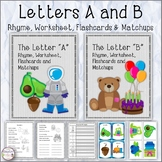 Letters A and B Rhyme, Worksheet, Flashcards and Matchups
