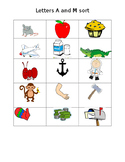Letters A and M sorting for Phonics