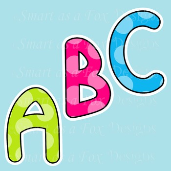 Letters A to Z Clipart Uppercase Standard and Polka Dots