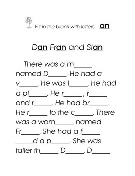Letters AN Fill in the Blank Kindergarten Story Printable Rhyming