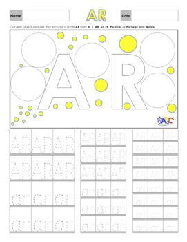 Letters AR Printing and Picture Find Worksheets