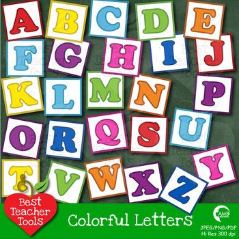 Letters Clipart, Alphabet Clipart, Letter Blocks in Bright Colors AMB-455