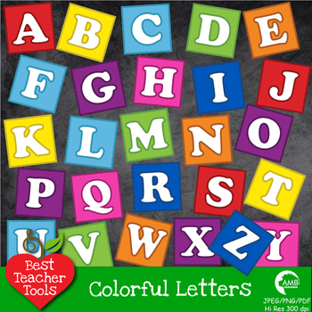 Alphabet Clipart, Letter Clipart, Blocks Clipart in Bright Solid Colors AMB-469
