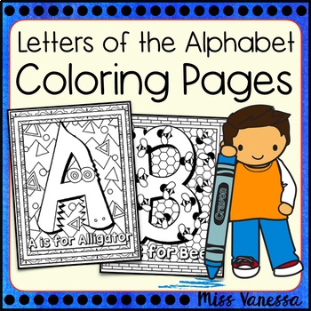 Letters And Numbers Coloring Pages By Miss Vanessa Tpt