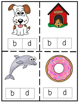 Letters B and D Clip Cards (b and d letter confusion)