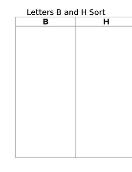Letters B and H picture sort