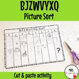 Letters BJZWVYXQ Picture Sort Activity