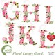 Letters Clipart, Letters In Pink Floral Theme Clipart, BUN