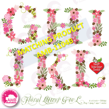 Letters Clipart, Letters In Pink Floral Theme Clipart A to F, AMB-1104A