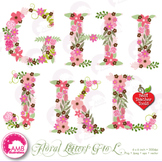 Letters Clipart, Letters In Pink Floral Theme Clipart, G to L AMB-1104B