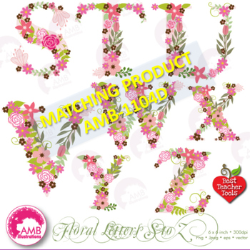 Letters Clipart, Letters In Pink Floral Theme Clipart, M to R, AMB-1104C