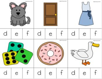 Letters D-F Beginning Sounds Clip It {A Beginning Work Task)