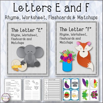 Letters E and F Rhyme, Worksheet, Flashcards and Matchups