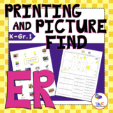 Letters ER Printing and Picture Find Printables | myABCdad Learning for Kids