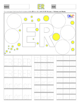 Letters ER Printing and Picture Find Worksheets
