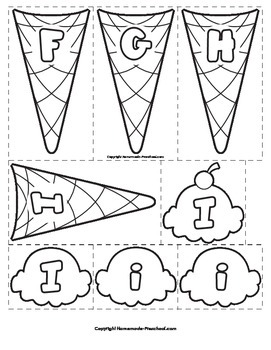 Letters F-I Ice Cream Scoops