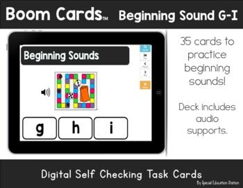 Letters G-I Beginning Sounds Clip It {A Beginning Work Task)