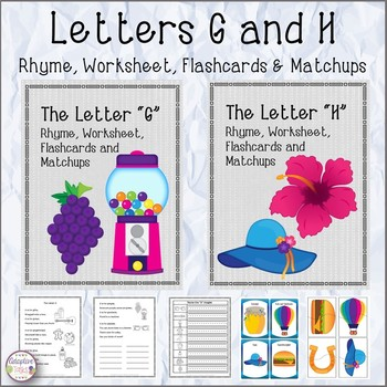 Letters G and H Rhyme, Worksheet, Flashcards and Matchups