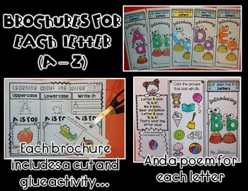 Letters Galore BUNDLE (A to Z) Brochures, Slide Shows, and Literacy Centers