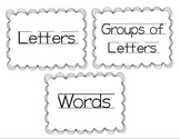 Letters, Groups of Letters, and Word Sort