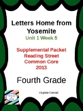 Letters Home From Yosemite---Reading Street Fourth Grade Supplemental Packet