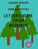 Letters Home From Yosemite Activities - Choice Board