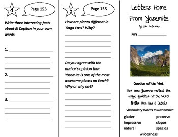 Letters Home From Yosemite Trifold - Reading Street 4th Grade Unit 1 Week 5