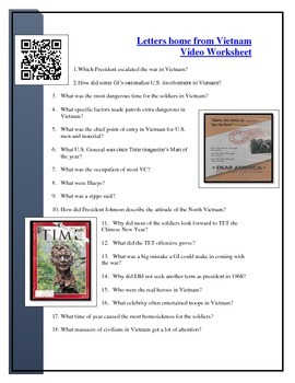 BYOD Assignment - Letters Home from Vietnam video worksheet - QR Link