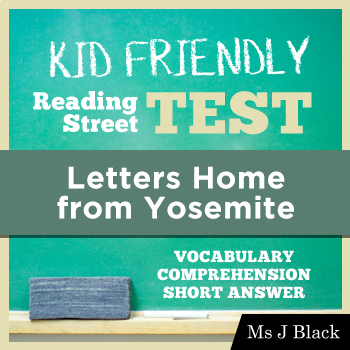 Letters Home To Yosemite Reading Street Worksheets