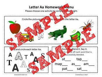 Letters A-Z Homework Menus Bundle