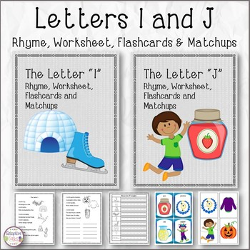 Letters I and J Rhyme, Worksheet, Flashcards and Matchups