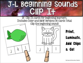 Letters J-L Beginning Sounds Clip It {A Beginning Work Task)