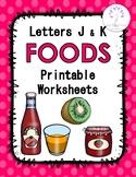 Letters JK Foods Printable Worksheets