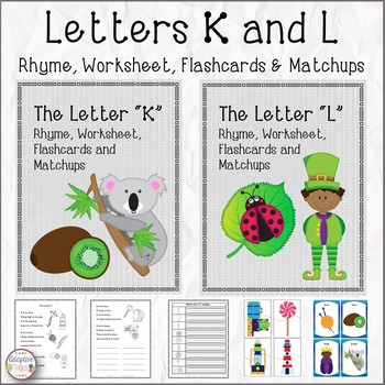 Letters K and L Rhyme, Worksheet, Flashcards and Matchups