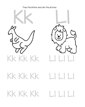 Letters Kk and Ll Handwriting Practice