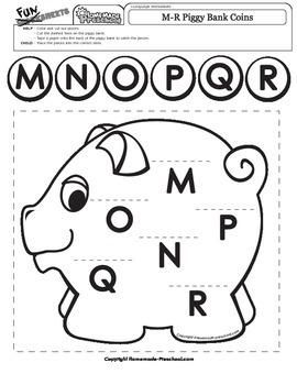 Letters M-R Piggy Bank Coins Match