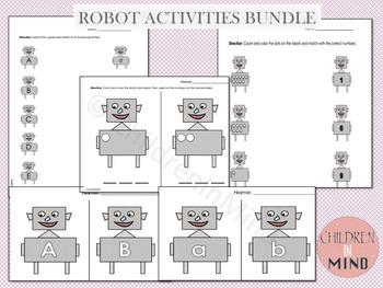 Letters & Numbers (1-10) - Robot Activities Bundle