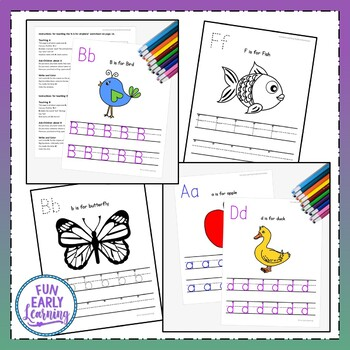 Letters, Numbers & Shapes Worksheets & Guided Lessons Bundled - 3 Writing Lines