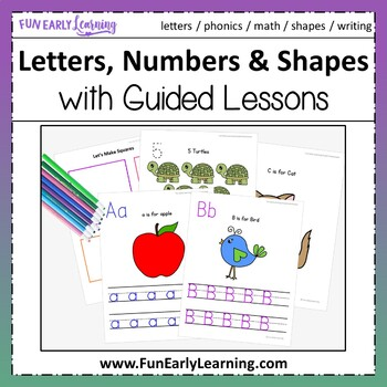 Letters, Numbers & Shapes Worksheets & Guided Lessons Bund
