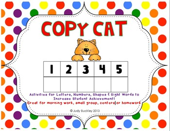 Letters, Numbers, Shapes and Sight Word Copy Cat Sheets